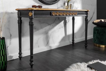 Elegante consoletafel VENICE 125 cm zwart goud massief hout