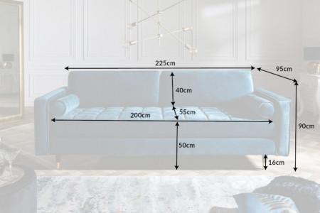 Elegante design 3-zitsbank COSY VELVET 225 cm aqua fluwelen