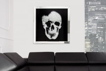 Exclusieve afbeelding MIRROR SKULL XL 60x60cm Diamanten schedel wanddecoratie
