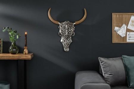 Extravagante wanddecoratie EXOTISCHE BULLY 57 cm zilveren mangohouten stierkop afbeeldingen
