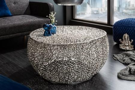 Filigraan design salontafel LEAF 80cm zilver handgemaakt LEVERTIJD JUNI afbeeldingen