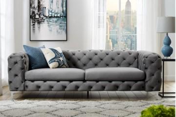Fluwelen sofa MODERN BAROK grijs 3-zits Chesterfield design afbeeldingen