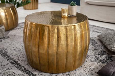 Handgemaakte salontafel MARRAKESCH 55 cm goud met gehamerd design afbeeldingen