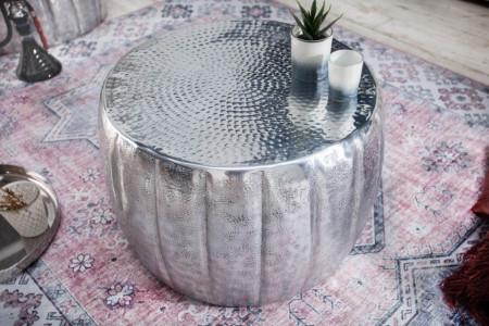 Handgemaakte salontafel MARRAKESCH 55 cm zilver met gehamerd design
