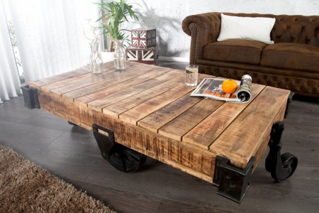 Massiev mangohout design salontafel RAILWAY 120cm met 4 wielen