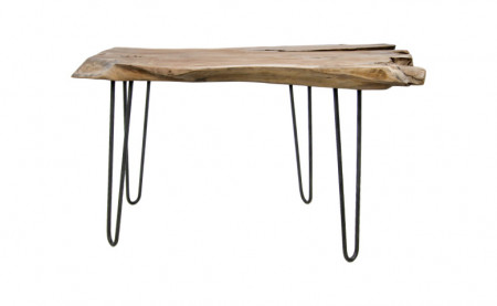 Massieve consoletafel WILD 120 cm teak massief houten boomschijf Haarspeldpoten