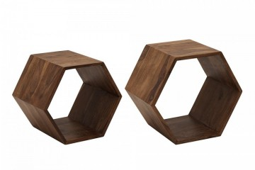 Massieve set van 2 cubes HEXAGON Sheesham Stone Finish bijzettafels