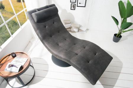 Modern design ligbed RELAXO 170 cm grijs met doorgestikte relax ligstoel afbeeldingen