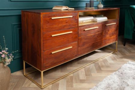 moderne dressoir acaciahout 165 cm bruin goud