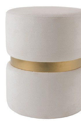 Poef Rond Velours stof Wit/Goud