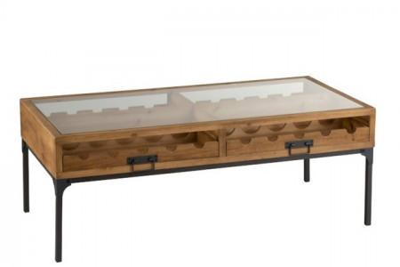 Salontafel Voor Wijnflessen Hout Naturel 120cm