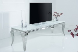 Stijlvolle TV tafel MODERN BAROCK 160cm roestvrij staal wit opaalglas afbeeldingen
