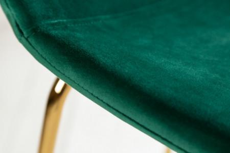 Barstoel Scandinavia donkergroen fluweel stof. goud kleur poten met voeten steun