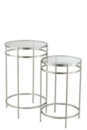 Bijzettafels Glas Metaal Zilver Set Van 2