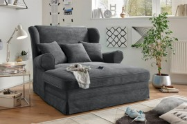 Design XXL Loveseat fauteuil MELBOURNE antraciet corduroy met kussenvleugel afbeeldingen