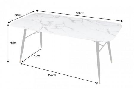 Eettafel Glas marmerlook Wit 180cm