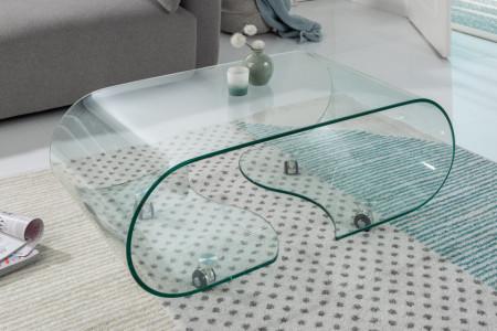 glazen transparant salontafel 90 cm met wielen