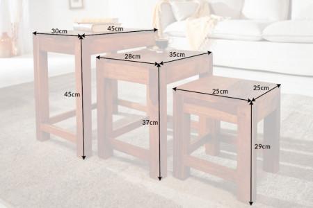 Handgemaakte bijzettafels set van 3 MONSOON 45 cm Sheesham hout