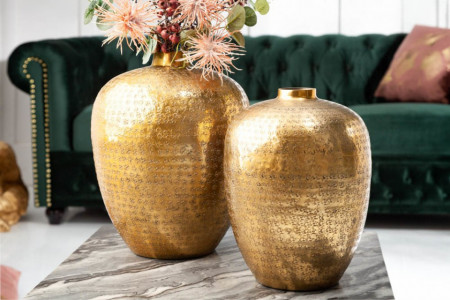 Handgemaakte vazen set van 2 ORIENTAL 33 cm goud met voetbescherming