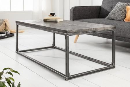 Industriële salontafel INFINITY HOME 100 cm grijs mangohouten frame, gebogen
