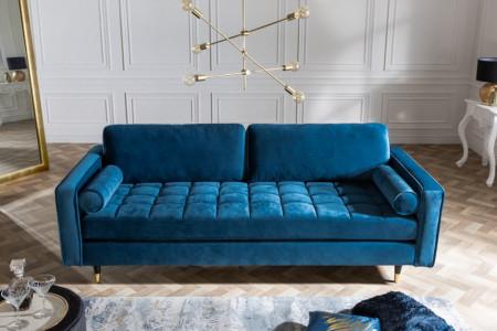 Luxe design 3-zitsbank 225 cm zitcomfort pocketvering stof fluweel aqua
