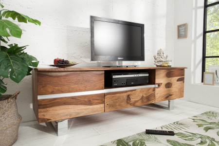 Massief boomstam tv-bord MAMMUT 160cm Sheesham Lowboard roestvrijstalen sledeframe