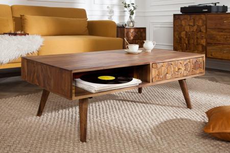Massief hout salontafel mat lades MYSTIC LIVING 110 cm naturel sheesham 3D-oppervlak massief hout