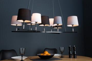 Modern hanglamp LEVELS II met 9 linnen parasols afbeeldingen