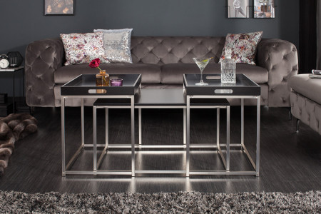 Moderne design salontafel set van 3 ELEMENTS 75 cm zwart stalen dienbladtafel