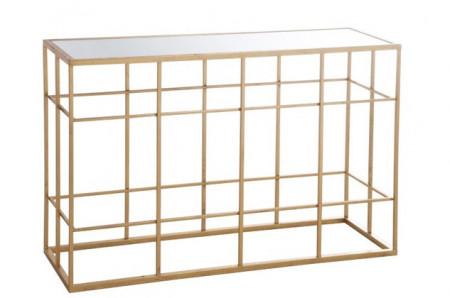Console Metaal goud 120 cm gespiegelde glas
