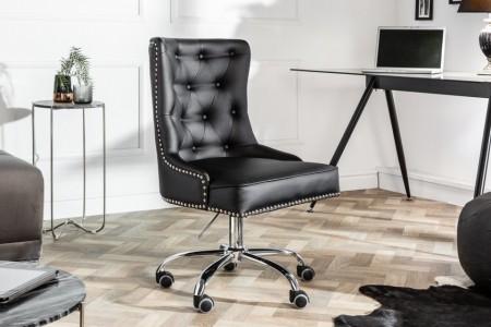 Design bureaustoel VICTORIAN lederen look zwarte draaistoel met armleuning afbeeldingen