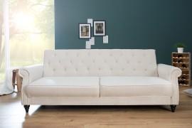 Designbank MAISON BELLE AFFAIRE 220cm crème met slaapfunctie afbeeldingen
