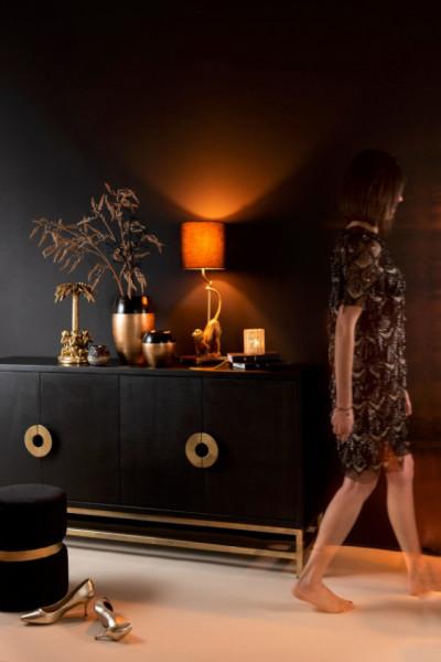 Dressoir 4 Deuren Mango Hout/Ijzer Zwart/Goud 160cm
