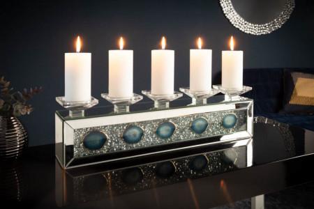 Extravagante kandelaar DIAMANT AGAAT 61 cm met agaatstenen en kristallen