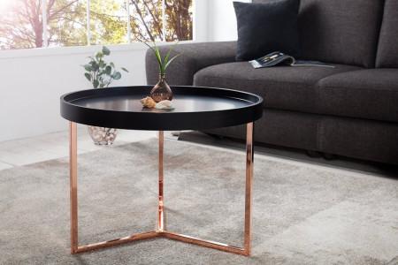 Extravagante salontafel MODULAR 60 cm mat zwart koper rond incl. Dienblad
