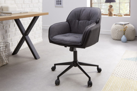 In hoogte verstelbare bureaustoel MR. LOUNGER antracietgrijs met armleuningen