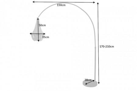 In hoogte verstelbare vloerlamp ROYAL 210 cm zwart met kroonluchter