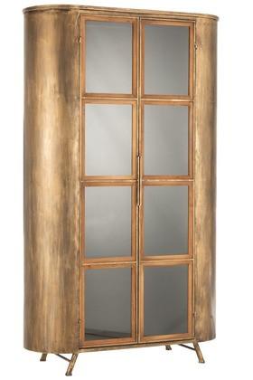 Kast 2 Deuren Metaal/Glas Antiek Goud 184cm