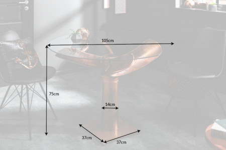 Maritieme tafel OCEAN 105 cm koperen gevlamd glazen tafel met propeller
