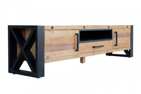 Massief tv-lowboard THOR 200 cm grenenhout in industrieel design