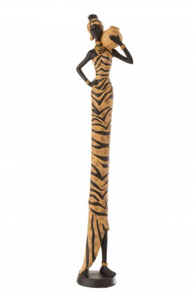 Staande Deco Beeld Afrikaanse Vrouw Zebra Poly Zwart/Bruin