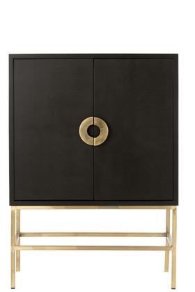 Wandkast Mangohout zwart / goud 2 Deuren 2 Laden 140cm