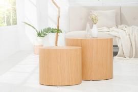 Design bijzettafel/salontafel(Ovaal) Set van 2 DIVISION van echte Eiken afbeeldingen