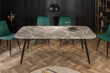 Design eettafel 180cm grijs glazen tafel marmer look
