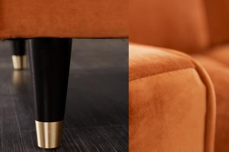 Elegante Loungebank COSY VELVET 260 cm fluweel stof roestbruin.lounge gedeelte aan beide zijden op te monteren.