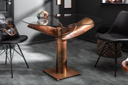 Maritieme tafel OCEAN 105 cm koperen gevlamd glazen tafel met propeller afbeeldingen