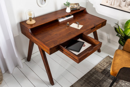 Massief bureau MONSOON 120 cm acacia bureau met een opvallende afwerking