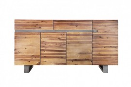 Massieve boomstam dressoir GENESIS 170 cm acacia hardhoutboom rand met lopers Industrial Finish