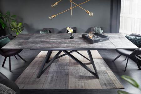 Uitschuifbare eettafel ATLAS 180-220-260cm keramiek blad in lava-look