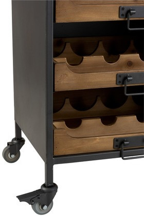 WijnKast Op Wielen 7 laden Metaal/Hout Naturel 120cm